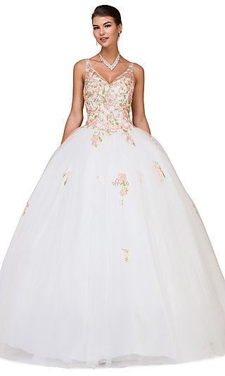Embroidered Long V-Neck Quinceanera Ball Gown