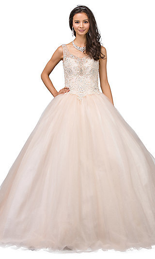Long Quinceanera Ball Gown with V-Neckline