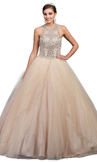 Beaded-Bodice High-Neck Quinceanera Ball Gown