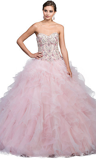 Long Quinceanera Strapless Ball Gown