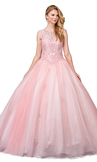 Long Quinceanera Ball Gown with Cap Sleeves