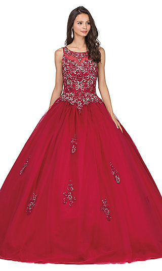 Long Quinceanera Gown with Beaded Bodice