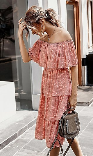 Pink Off Shoulder Ruffle Summer Dress