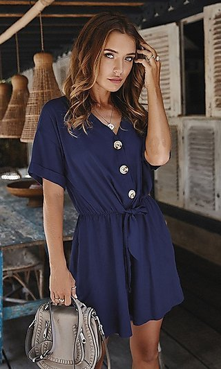 Short Sleeve Casual Romper