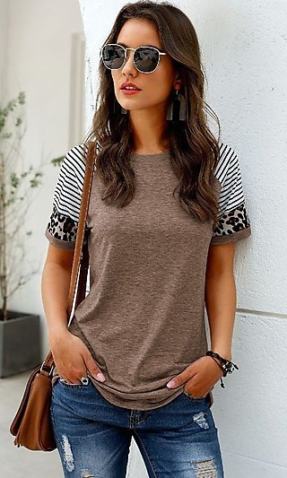 Leopard and Stripes Tee Shirt