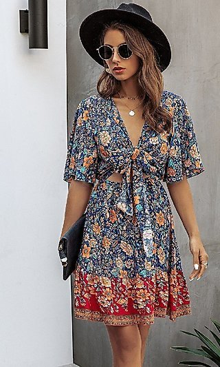 Short Floral Casual Wedding Guest Dress
