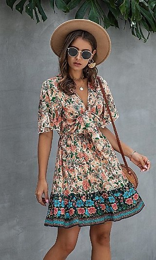 A-Line Short Floral Print Front-Tie Casual Dress