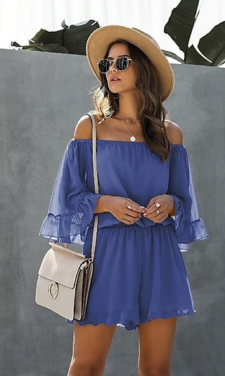 Off Shoulder Casual Romper with Sleeves