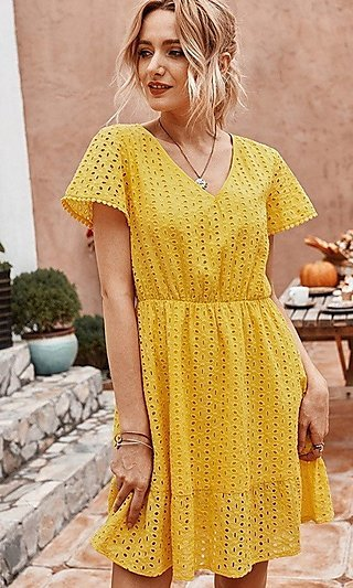 Casual Eyelet Summer Dress
