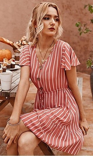 Short Striped Casual Summer Dress