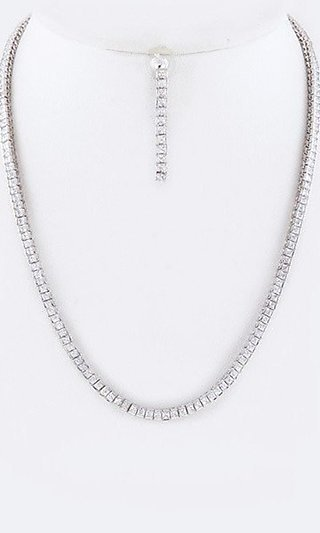 Cubic Zirconia Matching Earrings and Necklace Set