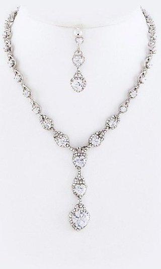 Heart Drop Earring and Necklace Set