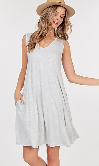 Sleeveless A-Line V-Neck Dress with Pockets