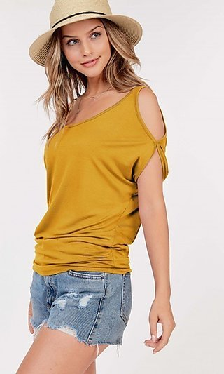Cold-Shoulder Short-Sleeve Scoop-Neck Shirt