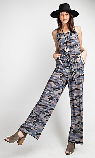Camo Jumpsuit With Pockets and Adjustable Waist