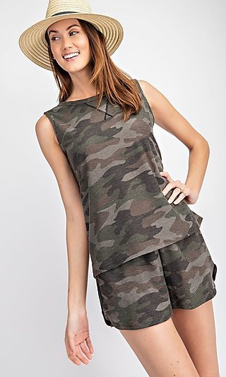 Camo Printed French Terry Loungewear Set