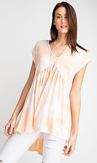V-Neck Tie Dye High-Low Casual Cap-Sleeve Shirt