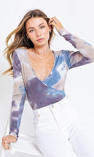 Low V-Neck Blue Tie Dye Bodysuit
