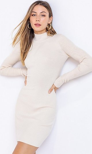 Short Mock-Neck Ribbed Sweater Dress