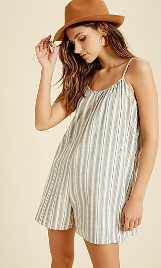 Blue Striped Casual Romper with Pockets