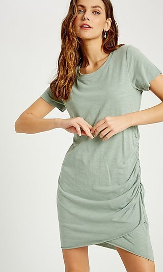 Ruched Side-Seam Casual Short Cotton Dress