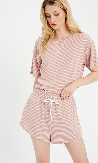 Two Piece Striped Loungewear Set