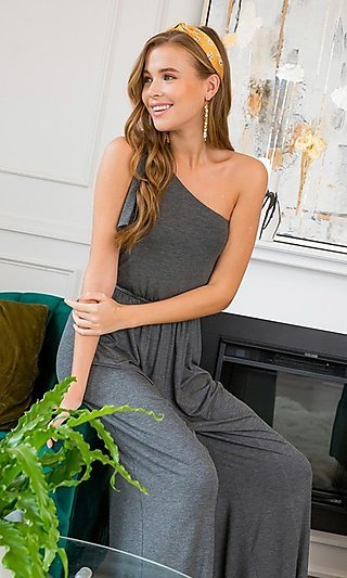 One Shoulder Casual Jumpsuit with Pockets
