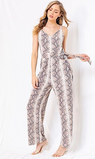 Snake Skin Jumpsuit with Pockets