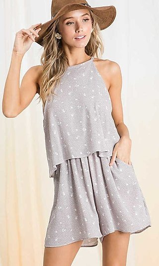 Sleeveless Casual Flounce Romper with Pockets