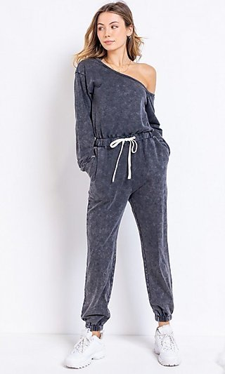 Off-Shoulder Charcoal Grey Casual Jumpsuit
