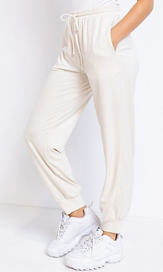 Velvet Ribbed Casual Pants with Pockets