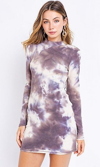 Open Back Ivory and Brown Casual Tie Dye Dress