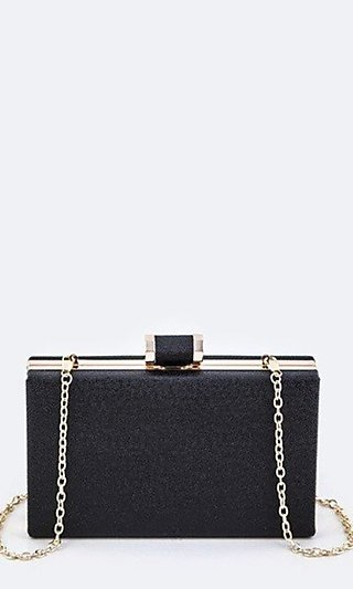 Box Clutch Purse with Shoulder Chain