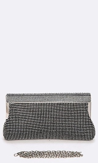 Soft Crystal Mesh Clutch with Shoulder Chain