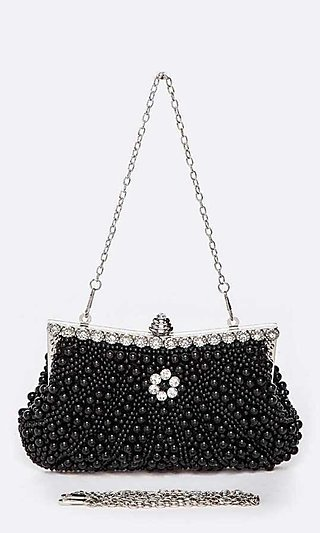 Pearl Beaded Soft Clutch