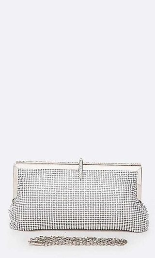 Soft Mesh Clutch Embellished in Rhinestones