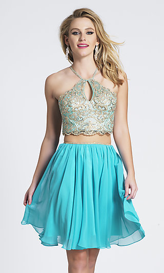 Knee-Length Two-Piece Short Dave & Johnny Prom Dress