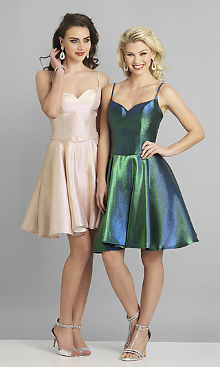 Short Metallic Corset Fit-and-Flare Prom Dress