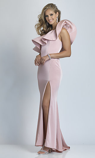 Dave & Johnny Ruffle One Shoulder Long Prom Dress