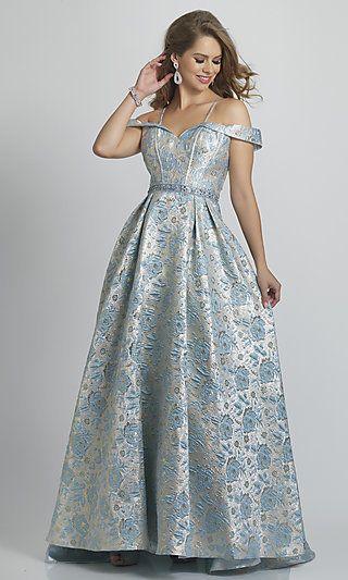 Blue Floral Print Prom Ball Gown by Dave & Johnny