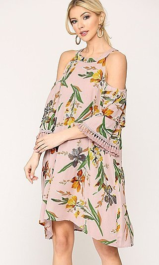 Casual Mauve-Pink Floral Wedding-Guest Dress
