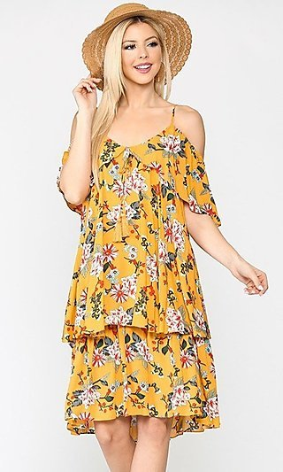 Casual Yellow Floral Wedding-Guest Dress