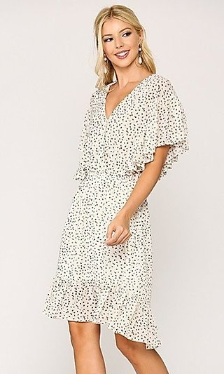 Casual Off-White Print High-Low V-Neck Dress