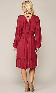 Image of red long sleeve knee-length wedding-guest dress. Style: LAS-GIG-21-TC1485-R Back Image