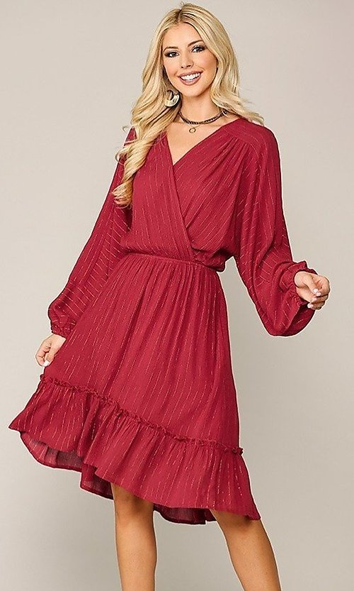 Image of red long sleeve knee-length wedding-guest dress. Style: LAS-GIG-21-TC1485-R Front Image