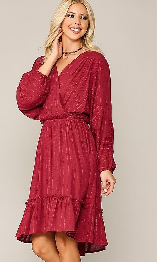 Image of red long sleeve knee-length wedding-guest dress. Style: LAS-GIG-21-TC1485-R Detail Image 1