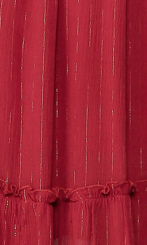 Image of red long sleeve knee-length wedding-guest dress. Style: LAS-GIG-21-TC1485-R Detail Image 2