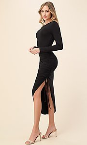 Image of asymmetrical side-ruched long sleeve party dress. Style: LAS-HAH-21-AD42389L-A Detail Image 4