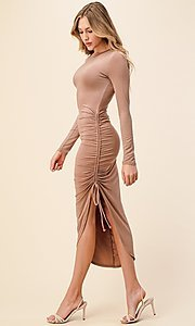 Image of asymmetrical side-ruched long sleeve party dress. Style: LAS-HAH-21-AD42389L-A Detail Image 1