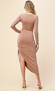 Image of asymmetrical side-ruched long sleeve party dress. Style: LAS-HAH-21-AD42389L-A Back Image